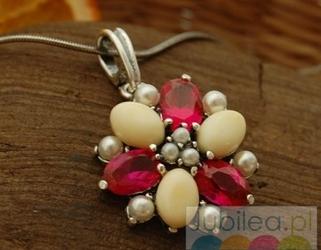 Adriano - srebrny wisior rubiny, perły i bursztyny