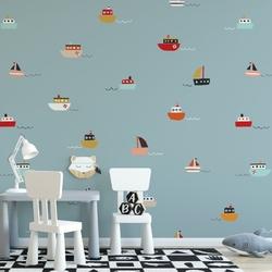 Tapeta dziecięca - seaboats , rodzaj - tapeta flizelinowa laminowana
