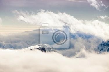 Fototapeta cime delle dolomiti tra le nuvole