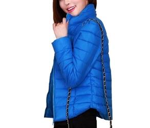 Ciepła, pikowana kurtka niebieska m, l
