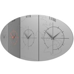 Zegar ze strefami czasowymi do biura sydney calleadesign aluminium  szary 12-004-2