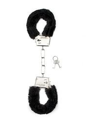 Czarne kajdanki z miękkim obiciem z futerka - czarne