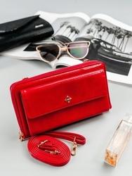 Portfel damski czerwony, mini torebka milano design 1838 - czerwony