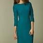 Szykowna lazurowa sukienka midi z rękawem 34