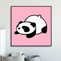 Pink panda - plakat dla dzieci , wymiary - 20cm x 20cm, kolor ramki - biały