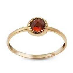 Staviori pierścionek. cyrkonia. żółte złoto 0,585.   model ozdobiono czerwoną cyrkonią.