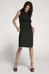 Czarna letnia sukienka z falbanką przewiązana paskiem