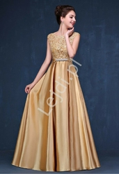 Satynowa złota suknia wieczorowa na studniówkę, wesele, dla druhny - elza