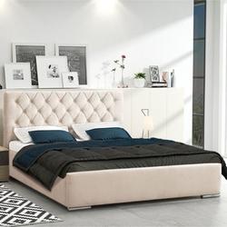 Klasyczne łóżko tapicerowane do sypialni dellen pikowane guzikami wzór karo