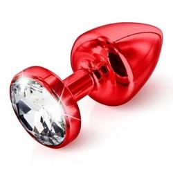 Plug analny zdobiony - diogol anni butt plug round red 35 mm czerwony