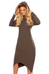 Długa dzianinowa sukienka z kapturem - khaki