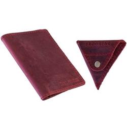 Skórzany zestaw portfel i bilonówka brodrene sw07 + cw01 czerwony - czerwony