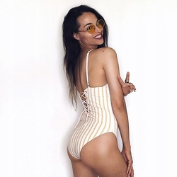 Strój kąpielowy monokini paski blogerski modny