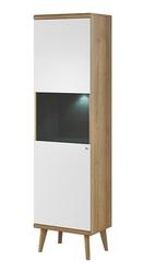 Witryna stojąca Prato 50 białadąb riviera + LEDbez LED scandi