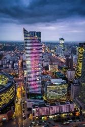 Warszawa złota - plakat premium wymiar do wyboru: 50x70 cm