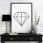 Diamond - plakat designerski , wymiary - 18cm x 24cm, ramka - czarna , wersja - na czarnym tle