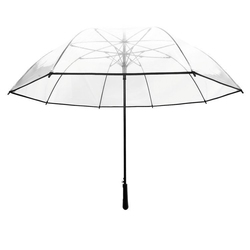 Długi parasol przezroczysty golf, czarna bordiura