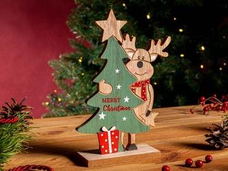 Figurka  ozdoba  dekoracja świąteczna drewniana święta boże narodzenie altom design renifer z choinką 13 x 5 x 21 cm