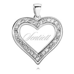 Srebrna zawieszka pr.925 piękne serce z cyrkoniami - biała