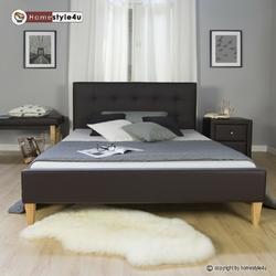 Łóżko tapicerowane podwójne 140 x 200 brązowe