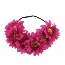 WIANEK opaska NA GUMCE kwiaty GERBERY fuksja - 34927
