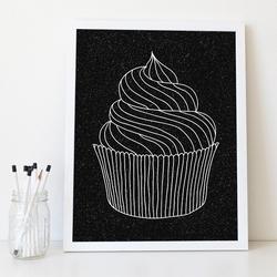 Muffin - designerski plakat w ramie , wymiary - 30cm x 40cm, wersja - na czarnym tle, kolor ramki - biały