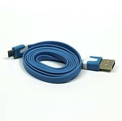 Kabel USB 2.0, USB A  M- USB micro M, 1m, płaski, niebieski, Logo, blistr