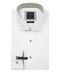 Ekstra długa biała koszula profuomo z beżowymi wstawkami slim fit 41