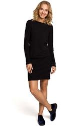 Dzianinowa zbluzowana sukienka z długim rękawem - czarna