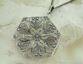 Isolda - srebrny ażurowy wisior