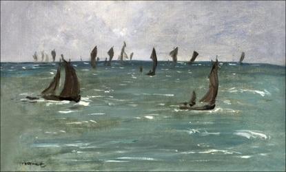 Boats at berck sur mer, edouard manet - plakat