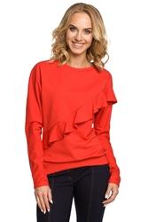 Damska bluza z asymetryczną falbanką czerwona m331