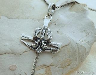 Bóg honor ojczyzna - srebrny krzyż wisiorek
