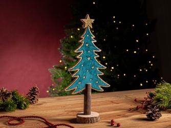 Figurka  ozdoba  dekoracja świąteczna drewniana święta boże narodzenie altom design choinka zielona ze złotym brokatem 16 x 6.5 x 33 cm