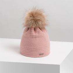 Pudrowa czapka zimowa damska cz28 brodrene