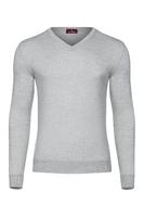 Jasnoszary sweter męski z wełny merino w serek 7xl