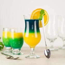 szklanki do drinków, koktajli - zestaw 18 el. 12 szkl. + 6 łyż.
