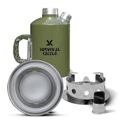 Aluminiowa kuchenka czajnik turystyczny survival kettle zielona - zestaw ze stalowym paleniskiem