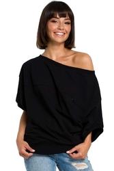 Czarna bluzka z zakładanym kopertowo ściągaczem