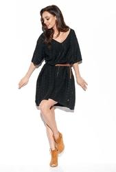 Czarna swetrowa luźna sukienka z ażurowym wzorem