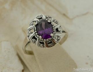 Ingrid - srebrny pierścionek z ametystem