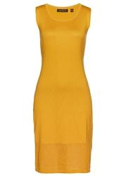 Sukienka dzianinowa bez rękawów bonprix ciemnożółty