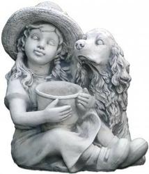Figura ogrodowa betonowa dziecko z psem i doniczką 42cm
