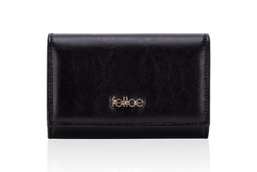 Skórzany portfel damski felice p06 czarny - czarny