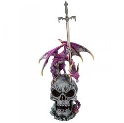 Fioletowy smok na czaszce - figurka z nożykiem do listów