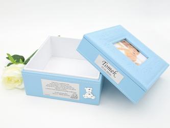 Szkatułka niebieska z miejscem na zdjęcie GRAWER roczek chrzest - Szkatułka niebieska