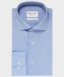 Elegancka niebieska koszula ze splotem oxford Michaelis z kołnierzem włoskim 45