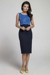 Granatowa elegancka dopasowana sukienka bez rękawów z koronką