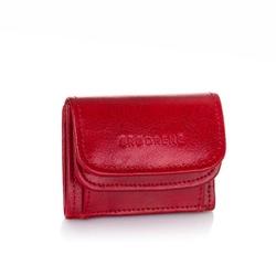 Mały portfel ze skóry naturalnej brodrene a-08 czerwony