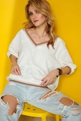 Bawełniana bluzka oversize ze ściągaczami - śmietankowa